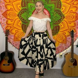 Black, white and cream skirt